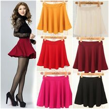 Fashion Women Short Stretch High Waist Skirt Plain Flared Pleated Mini Dress