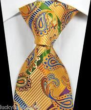 New Paisleys Stripes Gold Blue Green JACQUARD WOVEN 100% Silk Men's Tie Necktie