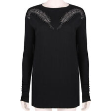 Thomas Wylde Black Pure Cashmere Crystal Feather Knitwear Sweater S IT40 UK8