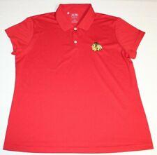 NHL Chicago Blackhawks Short Sleeve Polo Shirt Women Large Red Adidas Climalite