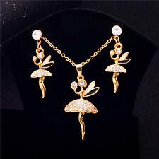 Lovely Little Dancing Girl Pendant Jewelry Set Clear CZ Necklace Pierced Earring