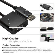 DP DisplayPort to VGA SVGA M/F Cable Video Adapter Black Gold Plated Connector