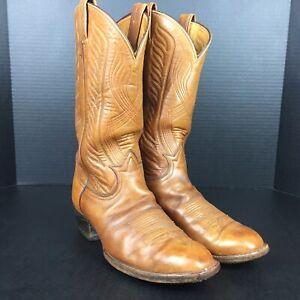 Vintage Tony Lama Cowboy American Boots 6374 Size 10 D 113791 Brown/Beige Mens