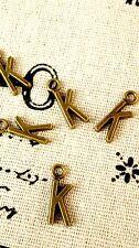 Alphabet letter K charm bronze vintage style jewellery supplies C32
