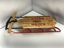 Red Miniature Sled Flexible Flyer Classic Racer Wood & Metal Decor 16x9 Hanging