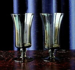 Vintage Pair Of Olive Green Glass Parfait Or Champagne Glasses