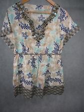Ladies Kaftan Style Short Sleeve Top by Savoir 100% Cotton UK Size 12 Eur 38