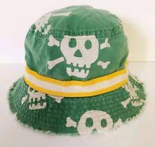 Mini Boden Boys Bucket Hat Green Skull & Bones Print in Size Medium