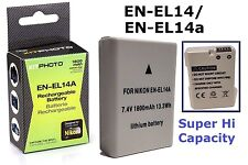 Hi Capacity EN-EL14a EN-EL14 Lithium Ion Battery for Nikon D3400 D5600