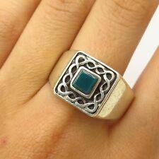 Vtg 925 Sterling Silver Real Green Onyx Celtic Design Men's Ring Size 12.5