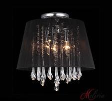 Lámpara de techo tela 40cm Negro Cristal Rendondo 4x40w mesa