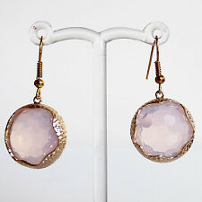 Gold Milky White Round Faceted Crystal Earrings