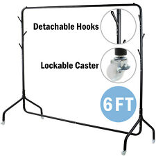 6FT Heavy Duty Metal Clothes Rail Hanging Rack Display Stand with Hat Scarf Hook
