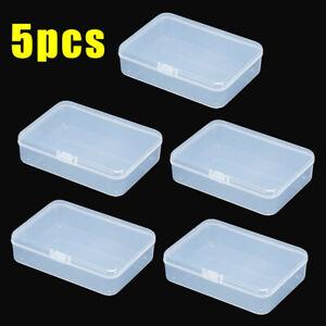 5Pcs Plastic Small Clear Transparent Container Case Storage Box Organizer Tool