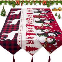 Chemin table fêtes Noël en tissu Floral Père Noël dinant le décor à la maison G