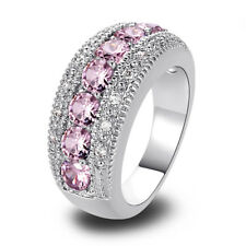 Pink Sapphire & White Topaz Gemstone Silver Ring Size 6 Free Shipping JEWELRY