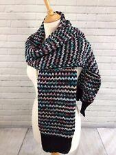Da Donna Retrò trama grossa HAND Knitted Look sciarpa Wrap Nero Bianco Blu Rosa