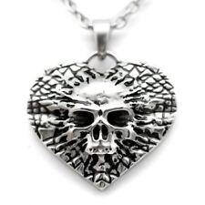 Undying Love Skull Heart Pendant Necklace Goth Punk Jewelry By Controse