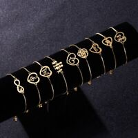 Gold Stainless Steel Love Heart Chain Cuff Bracelet Bangle Women Charm Jewelry