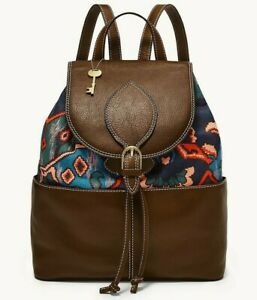 Fossil Luna Large Backpack Brown Leather Blue Fabric ZB141403 Brass NWT $238 FS