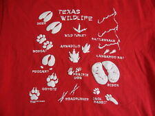 Vintage Texas Wildlife Pawprints Abilene State Park Red T Shirt Mens Size L