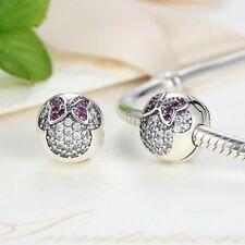 Stunning 925 Silver Minnie Pave Clip On Charm With Pink Cubic Zirconia Studs