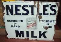 NESTLE'S MILK VINTAGE PORCELAIN ENAMEL SIGN 1920 ORIGINAL