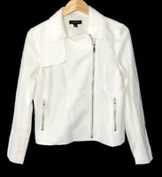 Ann Taylor Linen Blend Moto Jacket Women's Size 4 Winter White Zip Up NEW $159