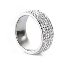 Crystal Rhinestone Micro Pave Ring Band Stainless Steel Gold Silver Size 7-12