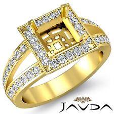 Halo Pave Set Diamond Engagement 0.55Ct Ring 18k Yellow Gold Princess Semi Mount