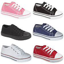 BOYS GIRLS KIDS CHILDREN CASUAL FLAT LACE UP PUMPS PLIMSOLLS SHOES TRAINERS SIZE