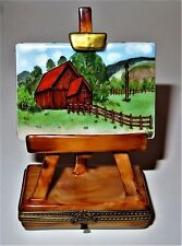 LIMOGES BOX - RURAL LANDSCAPE PAINTING ON AN EASEL -FARM SCENE- LE 283/300 - ART