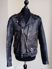 Vintage Black Leather Perfecto Moto Biker Punk Rocker Motorcycle Jacket Medium