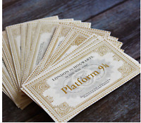 HARRY POTTER TICKET TRAIN 9 3/4 GOLD FAVOR SNITCH PARTY BAG FILLER CARDS TAGS UK