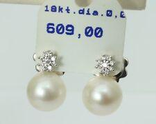 Stecker Ohrringe mit Diamant und Perle, 18 Karat Gold! Weißgold, eVp 195,- €