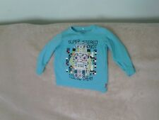 Baby Boys 9-12 Months - Turquoise Blue Long Sleeve Top - Robot Motif - Name It
