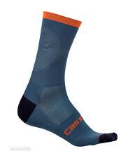 Castelli RUOTA 13 cm Tall Cuff Cycling Socks : LIGHT STEEL BLUE/ORANGE One Pair
