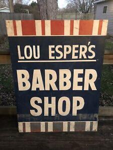 Vintage 1950s Metal Hand Painted Barbershop Sign Lou Espers Barber Shop