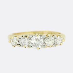 Gold Diamond Ring - Victorian Five Stone 0.70 Carat Diamond Five Stone Ring 18ct