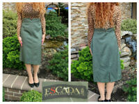VINTAGE ESCADA MARGARETHA LEY GREEN  WOOL STRAIGHT PENCIL SKIRT 40 10