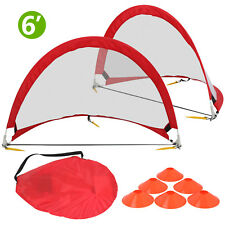 Portable Pop-up Soccer Goal (6 Foot Red Frame White Net) W/ Cones & Case
