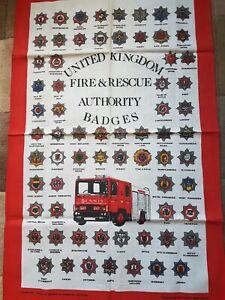 United Kingdom Fire & Rescue Authority Badges Tea Towel 100% Cotton