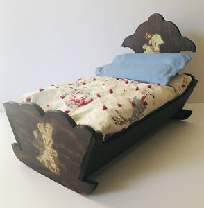 Vintage Doll Cradle Handmade Wooden Rocking Baby Bed Crib Rocker W/ Bedding