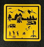 Adventures in Camping Stick Figure Funny Camping Metal Sign. Bigfoot UFO Party