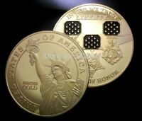 UNITED STATES OF AMERICAN STATUE OF LIBERTY GOLD PLATED COIN MEDAL OF HONOR USA