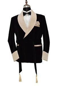 Men Black Smoking Jacket Designer Elegant Luxury Stylish Party Wear Blazer Coat