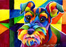Schnauzer  Original 5x7 Acrylic Framed DOG Painting by Sherry