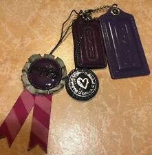 COACH 4 Poppy Ribbon Purple Leather Chain PURSE Bag Charm