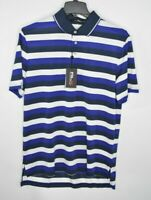 NEW RLX Ralph Lauren Mens Wicking Golf Polo Shirt White Blue Stripes Size L $90