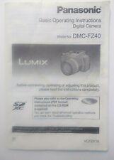 Lumix Panasonic DMC FZ40 Camera Instruction Manual English/Spanish